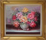 Large Red, Yellow, Pink Peonies in a White Ceramic Vase Oil Painting Flower Still Life Bouquet Classic Gold Wood Frame with Deco Corners 27 x 31 inches