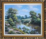 Peaceful Countryside Nature Harmony Landscape Oil Painting River Classic Ornate Antique Dark Gold Wood Frame 26 x 30 inches