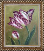 Opening Purple Tulip Floral Oil Painting Flower Naturalism Exquisite Gold Wood Frame 30 x 26 inches