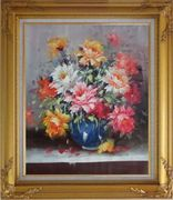 Still Life of Flowers in a Blue Vase Oil Painting Naturalism Gold Wood Frame with Deco Corners 31 x 27 inches