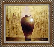 Gold Earthen Jar Oil Painting Still Life Asian Exquisite Gold Wood Frame 26 x 30 inches