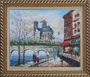 Seine River Walk Near Notre Dame Cathedral Oil Painting Cityscape France Impressionism Exquisite Gold Wood Frame 26 x 30 inches