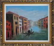 Enjoy Gondola On Quite Venice Water Street Oil Painting Italy Impressionism Ornate Antique Dark Gold Wood Frame 26 x 30 inches