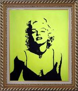 American Beauty Marilyn Monroe Oil Painting Portraits Celebrity Woman Actor Pop Art Exquisite Gold Wood Frame 30 x 26 inches