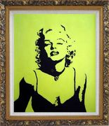 American Beauty Marilyn Monroe Oil Painting Portraits Celebrity Woman Actor Pop Art Ornate Antique Dark Gold Wood Frame 30 x 26 inches