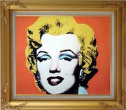 Marilyn Monroe Oil Painting Portraits Celebrity Woman America Actor Pop Art Gold Wood Frame with Deco Corners 27 x 31 inches