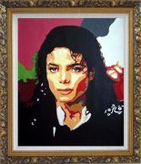 King of Pop Michael Jackson Oil Painting Portraits Celebrity America Musician Art Ornate Antique Dark Gold Wood Frame 30 x 26 inches
