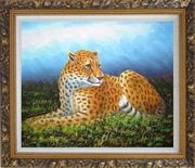 Sitting Tiger in Wild Oil Painting Animal Naturalism Ornate Antique Dark Gold Wood Frame 26 x 30 inches