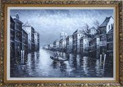 Black White Lonely Gondola in Venice Street of Grand Canal Oil Painting Italy Impressionism Ornate Antique Dark Gold Wood Frame 30 x 42 inches