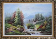 Small Creek Cascade Waterfall Mountain Valley Scenery in Autumn Oil Painting Landscape River Naturalism Ornate Antique Dark Gold Wood Frame 30 x 42 inches