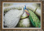 Beautiful White and Blue Peacocks Oil Painting Animal Naturalism Ornate Antique Dark Gold Wood Frame 30 x 42 inches