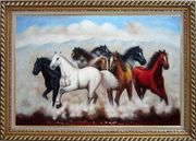 Eight Running Mustang Horses Oil Painting Animal Naturalism Exquisite Gold Wood Frame 30 x 42 inches