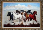 Eight Running Mustang Horses Oil Painting Animal Naturalism Ornate Antique Dark Gold Wood Frame 30 x 42 inches