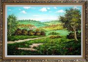 Spring Landscape Oil Painting Classic Ornate Antique Dark Gold Wood Frame 30 x 42 inches