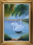 Pair of White Swans Enjoy Pleasant Time On Lake Oil Painting Animal Naturalism Gold Wood Frame with Deco Corners 43 x 31 inches