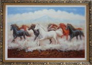 Eight Running Horses Oil Painting Animal Naturalism Ornate Antique Dark Gold Wood Frame 30 x 42 inches