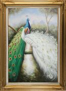 Blue and White Peacock Pair on Tree Branch Oil Painting Animal Naturalism Gold Wood Frame with Deco Corners 43 x 31 inches