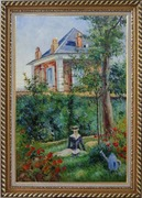 Girl in the Garden at Bellevue, Edouard Manet Oil Painting France Impressionism Exquisite Gold Wood Frame 42 x 30 inches