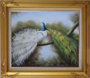 Pair of White and Blue Peacocks in Forest Oil Painting Animal Naturalism Gold Wood Frame with Deco Corners 27 x 31 inches