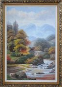Village House in Mountain Valley with Small Cascade Waterfall Autumn Scenery Oil Painting Landscape River Classic Ornate Antique Dark Gold Wood Frame 42 x 30 inches