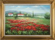 Small Hut Surrounded by Poppies in Tuscany, Italy Oil Painting Landscape Field Impressionism Gold Wood Frame with Deco Corners 31 x 43 inches