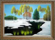 Elegant Tree and Lake Landscape Oil Painting River Winter Naturalism Exquisite Gold Wood Frame 30 x 42 inches