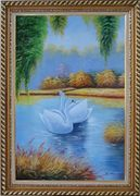 Pair of Swans in Lake Oil Painting Animal Naturalism Exquisite Gold Wood Frame 42 x 30 inches