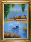 Pair of Swans in Lake Oil Painting Animal Naturalism Gold Wood Frame with Deco Corners 43 x 31 inches