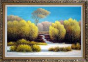 Exceptional Landscape Oil Painting River Naturalism Ornate Antique Dark Gold Wood Frame 30 x 42 inches