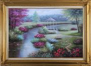 Graceful Flower Garden at Riverside Oil Painting Landscape Naturalism Gold Wood Frame with Deco Corners 31 x 43 inches