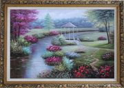 Graceful Flower Garden at Riverside Oil Painting Landscape Naturalism Ornate Antique Dark Gold Wood Frame 30 x 42 inches