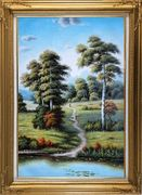 Serene European Rustic Rural Landscape Oil Painting River Classic Gold Wood Frame with Deco Corners 43 x 31 inches