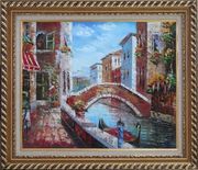 Pleasant Noon Time At Tranquil Street of Venice Oil Painting Italy Impressionism Exquisite Gold Wood Frame 26 x 30 inches