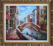 Pleasant Noon Time At Tranquil Street of Venice Oil Painting Italy Impressionism Ornate Antique Dark Gold Wood Frame 26 x 30 inches