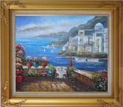 Wonderful Mediterranean Retreat Overlook Sea Coast And Mountain Oil Painting Impressionism Gold Wood Frame with Deco Corners 27 x 31 inches