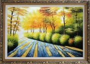 Road in Golden Sunshine Oil Painting Landscape Tree Autumn Naturalism Ornate Antique Dark Gold Wood Frame 30 x 42 inches