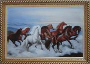 Eight Horses Galloping in the Wild Oil Painting Animal Naturalism Exquisite Gold Wood Frame 30 x 42 inches