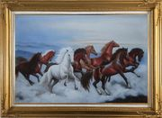 Eight Horses Galloping in the Wild Oil Painting Animal Naturalism Gold Wood Frame with Deco Corners 31 x 43 inches