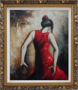 Flamenco Beauty Oil Painting Portraits Woman Dancer Impressionism Ornate Antique Dark Gold Wood Frame 30 x 26 inches