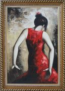 Flamenco Beauty Oil Painting Portraits Woman Dancer Impressionism Exquisite Gold Wood Frame 42 x 30 inches