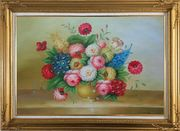 Classic Flowers Still Life Painting Oil Bouquet Gold Wood Frame with Deco Corners 31 x 43 inches