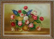 Still Life of Colorful Flowers Oil Painting Bouquet Classic Exquisite Gold Wood Frame 30 x 42 inches