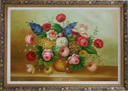 Still Life of Colorful Flowers Oil Painting Bouquet Classic Ornate Antique Dark Gold Wood Frame 30 x 42 inches