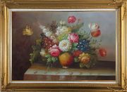 Colorful Flower Bouquet Oil Painting Still Life Classic Gold Wood Frame with Deco Corners 31 x 43 inches