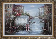 Gondolas Park At Flower Filled Venice Water Street Oil Painting Italy Impressionism Ornate Antique Dark Gold Wood Frame 30 x 42 inches