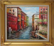 Italian Love Story at Venice Oil Painting Italy Impressionism Gold Wood Frame with Deco Corners 27 x 31 inches
