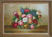 Vase of Colorful Flowers Oil Painting Still Life Bouquet Classic Exquisite Gold Wood Frame 30 x 42 inches