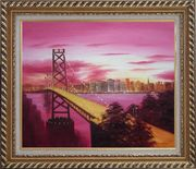 Bay Bridge To San Francisco From Treasure Island Oil Painting Cityscape America Modern Exquisite Gold Wood Frame 26 x 30 inches