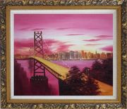Bay Bridge To San Francisco From Treasure Island Oil Painting Cityscape America Modern Ornate Antique Dark Gold Wood Frame 26 x 30 inches