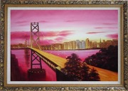 Bay Bridge To San Francisco From Treasure Island Oil Painting Cityscape America Modern Ornate Antique Dark Gold Wood Frame 30 x 42 inches